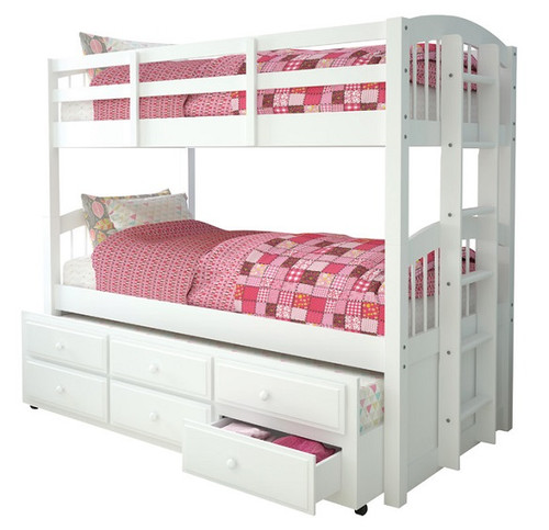 Candace White Twin over Twin Bunk Bed with Trundle
