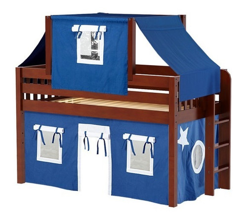 Caleb's Chestnut Twin Boys Playhouse Loft Bed