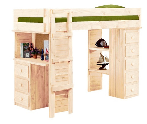 Henderson Unfinished Twin XL Loft Bed with Desk and Storage
