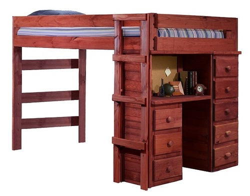 Henderson Mahogany Full XL Loft Bed with Desk and Storage