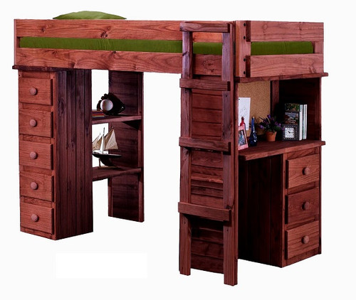 Henderson Mahogany Twin Loft Bed with Desk and Storage