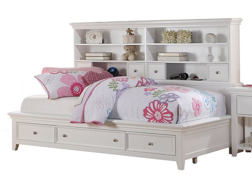 Trixie White Big Bookcase Bed with Storage