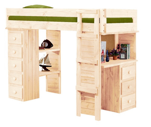 Henderson Unfinished Twin Loft Bed with Desk and Storage