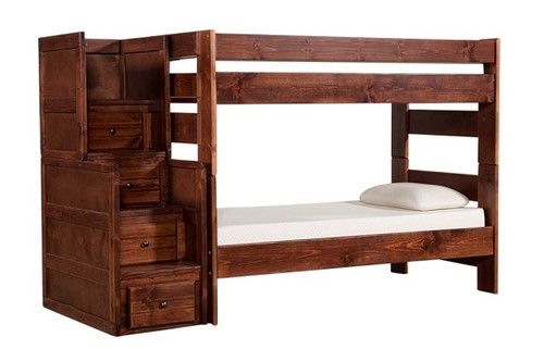 Prescott Cocoa Twin over Twin Wooden Bunk Beds with Stairs
