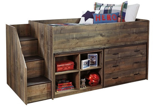Ramada Plank Twin Size Mid High Stairway Storage Loft Bed
