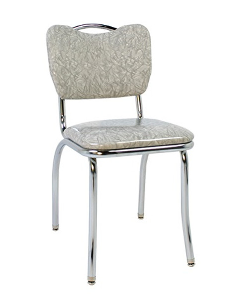Andromeda Retro Diner Chair shown with Grey Cracked Ice Vinyl