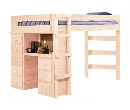 Henderson Unfinished Full Loft Bed with Desk and Storage