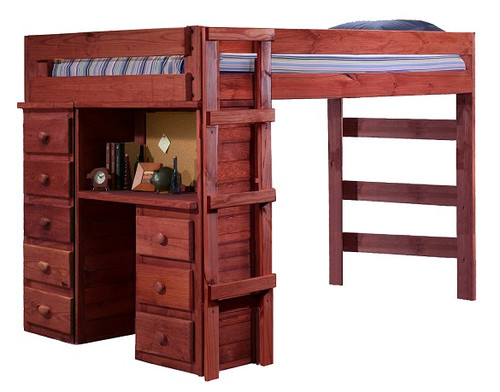 Henderson Mahogany Full Loft Bed with Desk and Storage