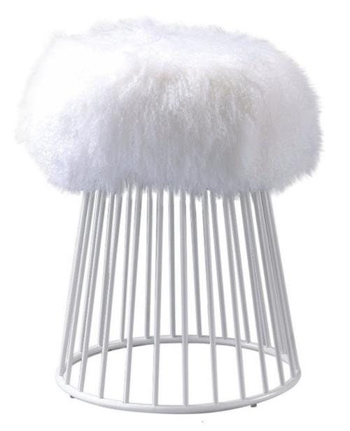 Sherpa Fur Round Ottoman