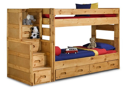 Harley Cinnamon Twin over Twin Wooden Bunk Beds with Stairs
