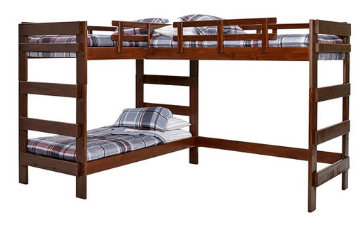 Boone Sleeps 3 Higher L Shape Loft Bed Mocha
