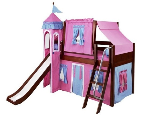 My Sweet Princess Chestnut Twin Girls Castle Bed with Slide