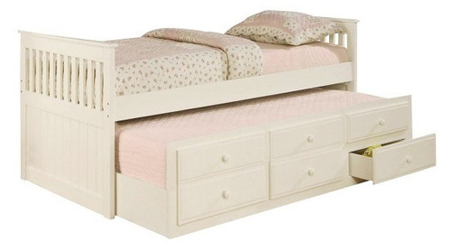 Lindsey White Twin Size Trundle Bed with Storage