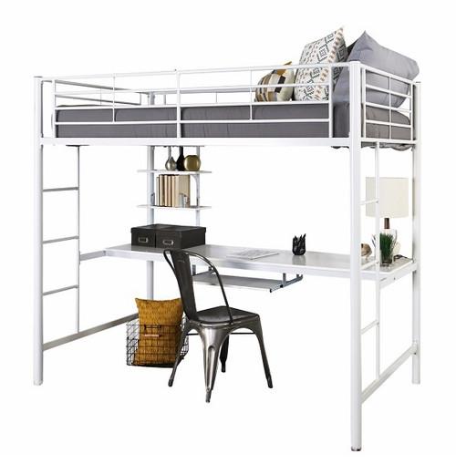 Nova White Metal Loft Bed with Desk