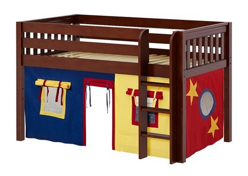 Pablo's Chestnut Twin Size Low Playhouse Loft Bed