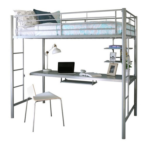 Tempo Silver Metal Loft Bed with Desk