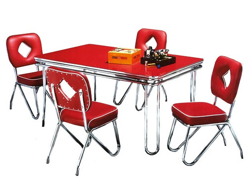 Hit Parade 1950s Formica Kitchen Table and Chairs shown with Cola Red Formica top and Baron Red Chairs