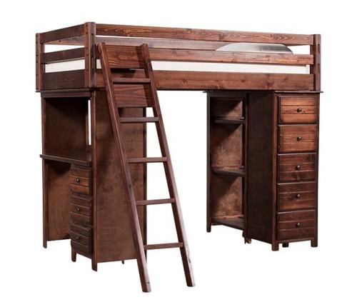 Prescott Cocoa Loft Bed with Desk and Storage