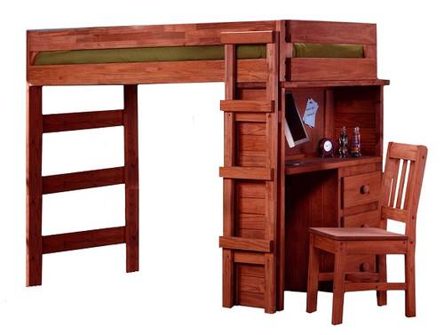 Rush River Mahogany Extra Long Twin Loft Bed with Desk