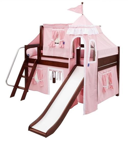 Sleeping Beauty Chestnut Low Girls Twin Princess Loft Bed