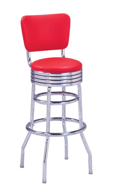 Thebe Retro Swivel Bar Stool shown with Red Vinyl