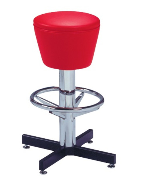 Aries Retro Bar Stool shown with Red Vinyl
