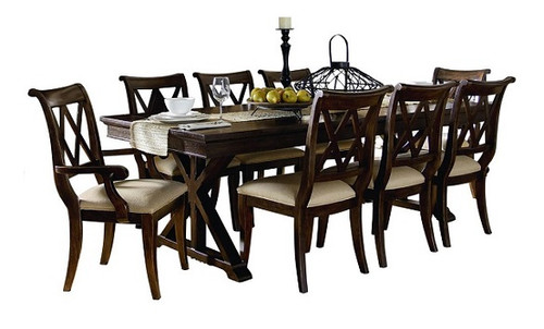 Kingsley Distressed Mocha Trestle Table 9 Piece Dining Set with table decorations