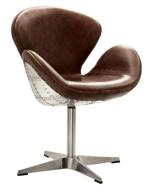 Malcolm Leather and Aluminum Swivel Accent Chair