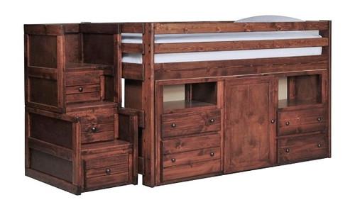 Prescott Cocoa Secret Hideout Kids Loft Bed with Stairs