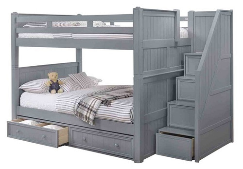 Moreno Grey Full over Full Bunk Beds with Stairs