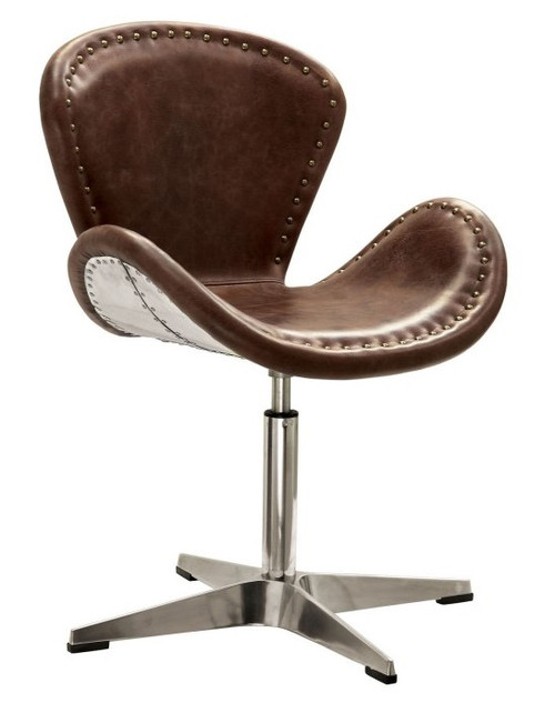 Malcolm Leather and Aluminum Swivel Accent Chair with Nailhead