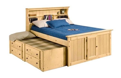 Prescott Natural Full Size Captains Bed with Trundle