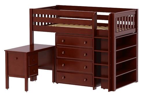 McQwinn Chestnut Twin Junior Loft Bed with Desk and Storage