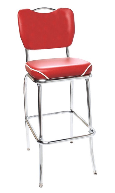 Indus Retro Bar Stool shown with Flame Vinyl