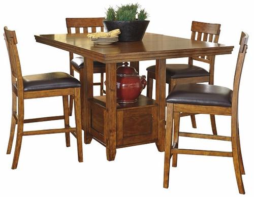 Clayton Warm Brown 5 Piece Pub Table Set