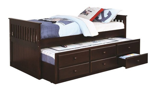 Trent Cappuccino Twin Size Trundle Bed with Storage
