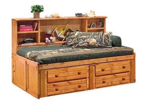 Gracie Amber Big Bookcase Twin Bed with Storage