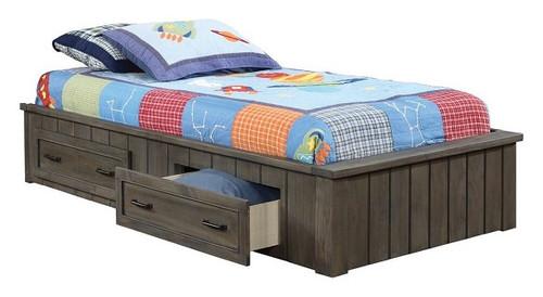 Owen Distressed Gray Platform Bed with Storage