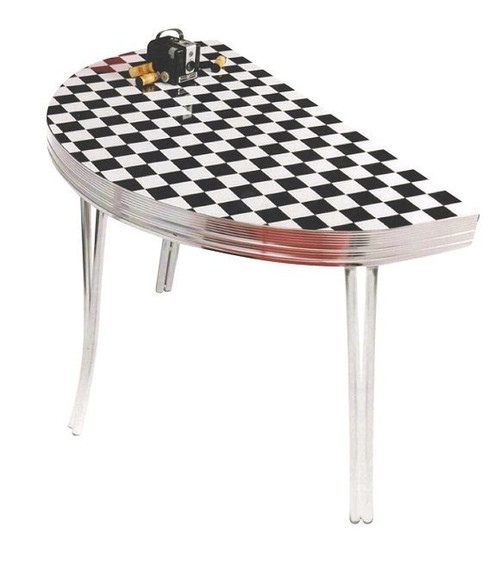 Norma Jean 1950's Retro Half Circle Table shown with Checkers Formica top
