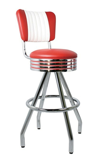 Fornax Retro Swivel Bar Stool shown with Flame Vinyl and optional Red Grooved Seat Ring Stripes
