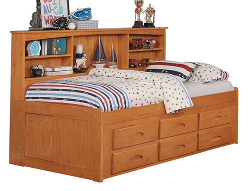 Ravenswood Honey Big Bookcase Twin Bed with Storage