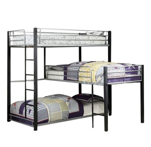 Zenith Metal Twin Corner Triple Bunk Bed
