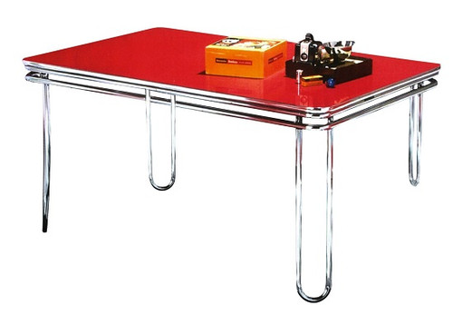 Hit Parade 1950's Retro Dining Table shown with Cola Red Formica top
