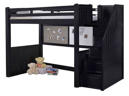 Eberhardt Black Twin Loft Bed with Stairs