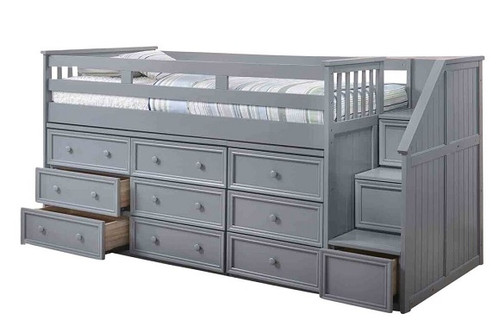 Moreno Stairway Low Loft Bed with Storage