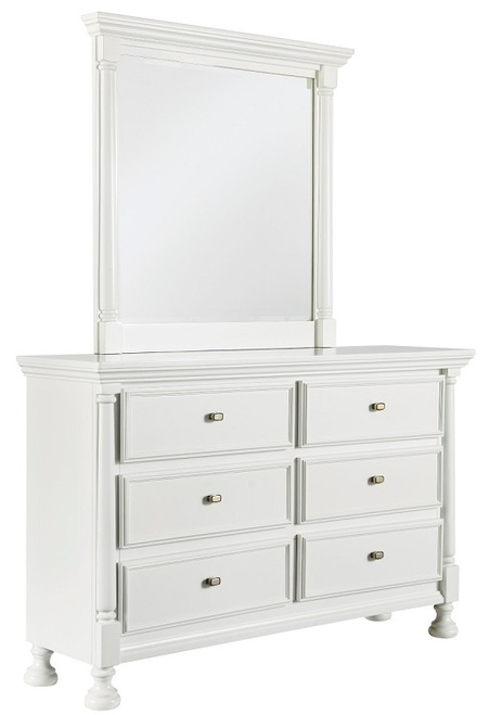 Ivy Inn Six Drawer Dresser White with matching mirror