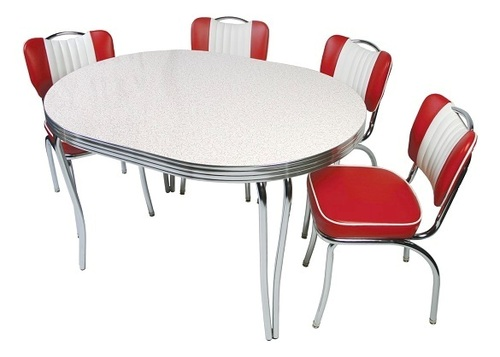 Kramden Chrome Dinette Sets shown with Red Glacier Boomerang Top and Flame Vinyl Chairs