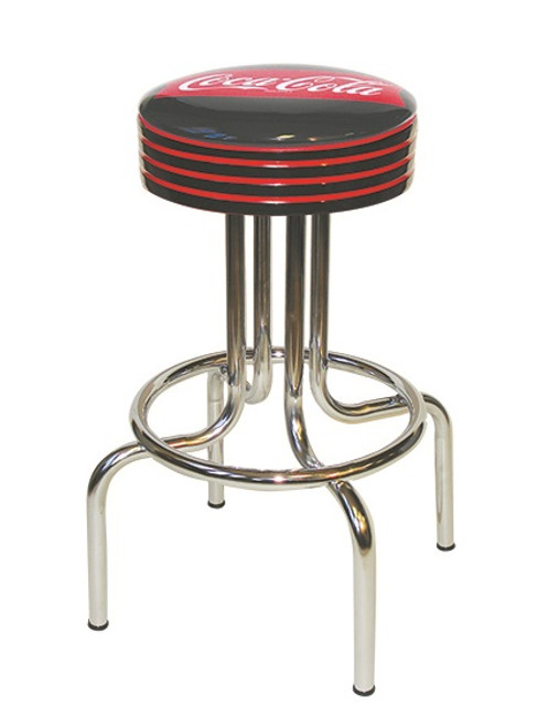 Coke Black with Red Stripes Diner Stool