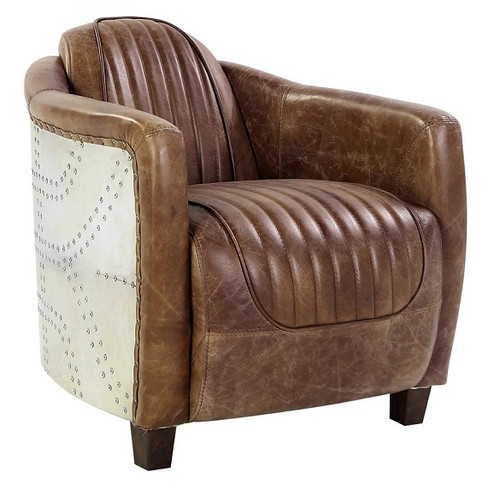 Malcolm Leather and Aluminum Aviator Chair