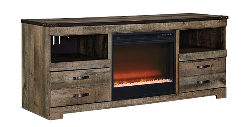 Ramada Plank Driftwood Entertainment Stand with Fireplace